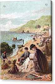 July - Victorians At The Seaside Acrylic Print by Whitemay