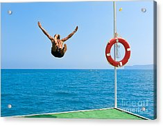 Jump In The Blue Sea Acrylic Print