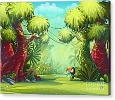 Jungle Vector Illustration Toucan Acrylic Print