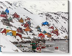 Kangamiut Village In The Middle Of Acrylic Print