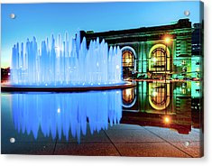 Kansas City Royal Blue Fountain - Union Station Acrylic Print
