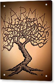 Acrylic Print featuring the drawing Karma Love Tree by Aaron Bombalicki