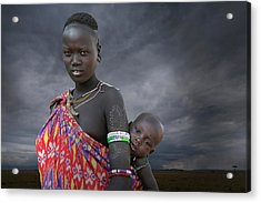 Karo Tribe  Woman With Child Acrylic Print by Buena Vista Images