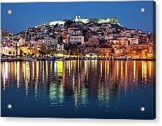 Kavala Town At Night Acrylic Print