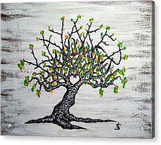 Acrylic Print featuring the drawing Kayaker Love Tree Art by Aaron Bombalicki