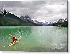 Kayaking In Banff National Park, Canada Acrylic Print by Oksana.perkins