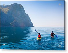 Kayaking In The Sea From Back View Acrylic Print