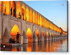 Khajoo Bridge Over Zayandeh River At Acrylic Print
