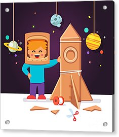 Kid Making Cardboard Box Rocket And Acrylic Print