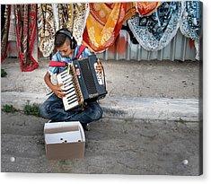 Kid Playing Accordeon Acrylic Print