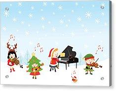 Kids Playing Christmas Songs Acrylic Print