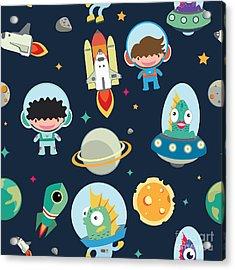 Kids Space Seamless Pattern Acrylic Print