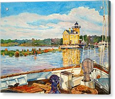 Kingston Lighthouse From The Sloop Clearwater Acrylic Print by Mira Fink
