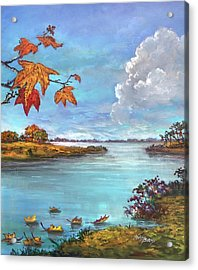 Kites, Clouds And Sailboats Acrylic Print