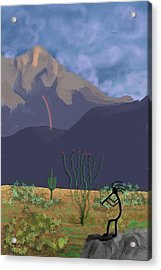 Kokopelli And Mount Wrightson Acrylic Print