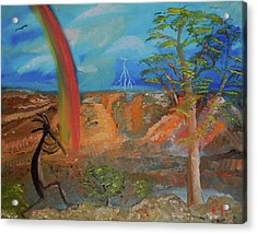 Acrylic Print featuring the painting Kokopelli Calls The Storm by Chance Kafka
