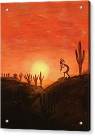 Kokopelli's Sunset Song Acrylic Print