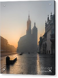 Krakow, Poland, St Marys Church And Acrylic Print