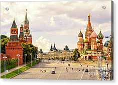 Kremlin And St Basils Cathedral On The Acrylic Print