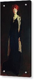 Lady In Black With Spanish Scarf Acrylic Print