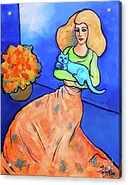 Lady With Blue Cat Acrylic Print