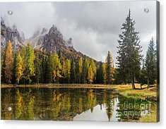 Lago Antorno With Mauntain Reflected In Acrylic Print