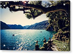 Lake Como. People On A Boat Ride On The Acrylic Print