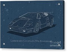 Lamborghini Countach 25th Anniversary - Front View - Stained Blu Acrylic Print
