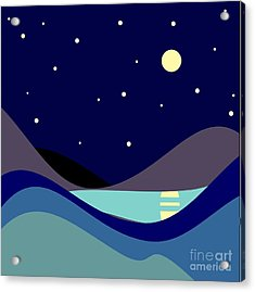 Landscape. Moonlit Night. Vector Acrylic Print
