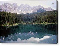 Landscape Of Carezza Lake And Latemar Acrylic Print by Stefano Salvetti