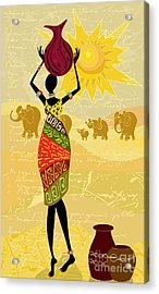 Landscape With An African Woman Acrylic Print