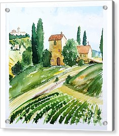 Landscape With Houses, Watercolor Acrylic Print