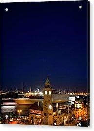 Landungsbrücken At Night With Acrylic Print