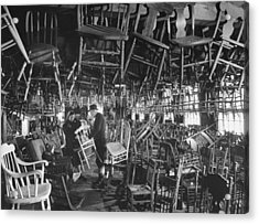 Large Room Full Of Chairs Being Offered Acrylic Print by Walter Sanders