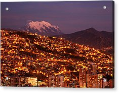 Last Light On Illimani (6438m/21,122ft Acrylic Print by David Wall