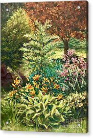 Acrylic Print featuring the painting Late Summer Garden by Gail Allen