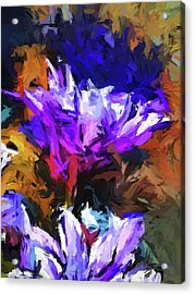 Lavender Flower And The Cobalt Blue Reflection Acrylic Print
