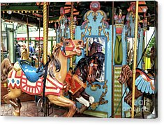 Le Carrousel Colors At Bryant Park In New York City Acrylic Print by John Rizzuto