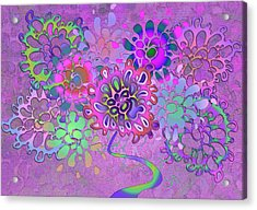 Acrylic Print featuring the digital art Leaves Remix Three by Vitaly Mishurovsky