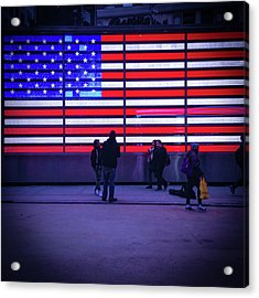 Led American Flag Acrylic Print by Michael Gerbino