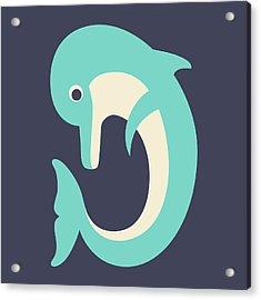 Letter D - Animal Alphabet - Dolphin Monogram Acrylic Print
