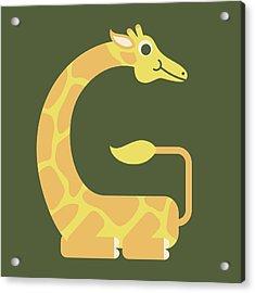 Letter G - Animal Alphabet - Giraffe Monogram Acrylic Print