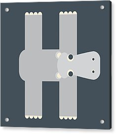 Animal Alphabet - Letter H - Hippo Monogram Acrylic Print