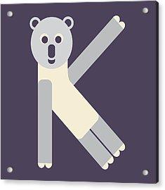 Letter K - Animal Alphabet - Koala Monogram Acrylic Print
