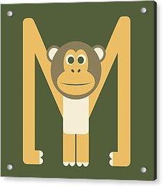 Letter M - Animal Alphabet - Monkey Monogram Acrylic Print