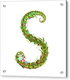 Letter S Floral Latin Decorative Acrylic Print