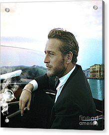 Life Is A Journey, Paul Newman, Movie Star, Cruising Venice, Enjoying A Cuban Cigar Acrylic Print