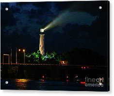 Acrylic Print featuring the photograph Lighthouse Lightbeam by Tom Claud