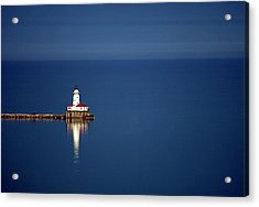 Lighthouse On A Lake Acrylic Print by By Ken Ilio