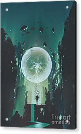 Lightning Ball And Geometry In The Form Acrylic Print